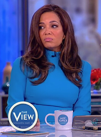Sunny's blue long sleeve mock neck dress on The View