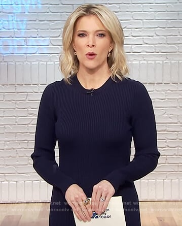 Megyn's navy ribbed dress on Megyn Kelly Today