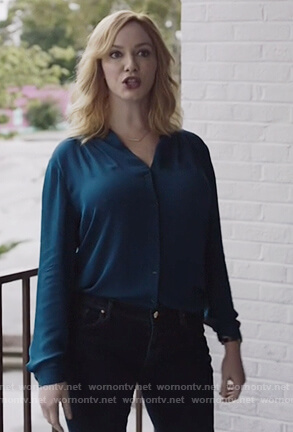 Beth's blue silk blouse on Good Girls