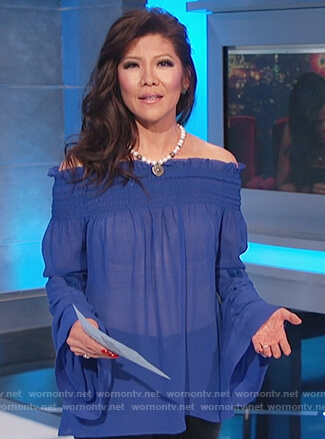 Julie's blue smocked off shoulder top on Celebrity Big Brother