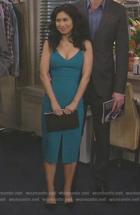 Eve's blue v-neck sleeveless dress on 9JKL