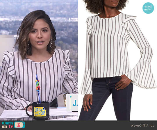 Ruffle Shoulder Flare Cuff Shirt by BP worn by Erin Lim (Erin Lim) on E! News