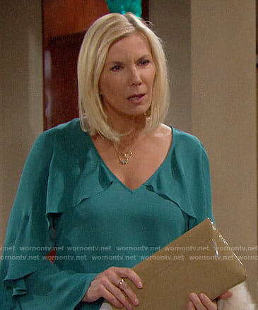 Brooke's teal green ruffled blouse on The Bold and the Beautiful