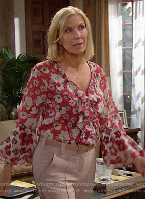 Brooke's pink floral ruffled blouse on The Bold and the Beautiful