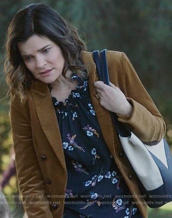 Heather's brown jacket and floral print top on Life in Pieces
