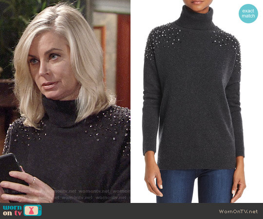 Aqua Cashmere Embellished Turtleneck Sweater worn by Eileen Davidson on The Young & the Restless