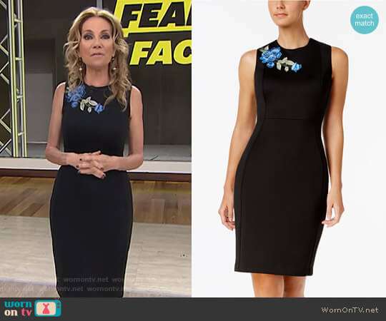 Floral-Appliqué Scuba Sheath Dress by Calvin Klein worn by Kathie Lee Gifford on Today