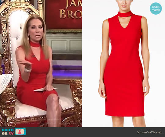 Scuba Crepe Choker Sheath Dress by Calvin Klein worn by Kathie Lee Gifford on Today