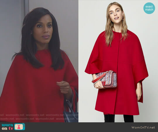 Ruffled Double-Faced Wool Cape by Carolina Herrera worn by Olivia Pope (Kerry Washington) on Scandal