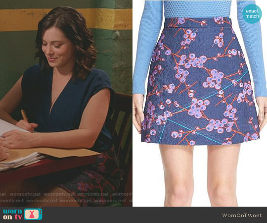 Floral Print A-Line Miniskirt by Carven worn by Rachel Bloom on Crazy Ex-Girlfriend