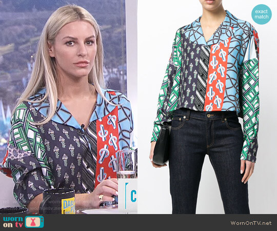 Carven Patchwork Print Shirt worn by Morgan Stewart (Morgan Stewart) on E! News