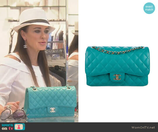 Caviar Classic Flap Bag by Chanel worn by Kyle Richards  on The Real Housewives of Beverly Hills