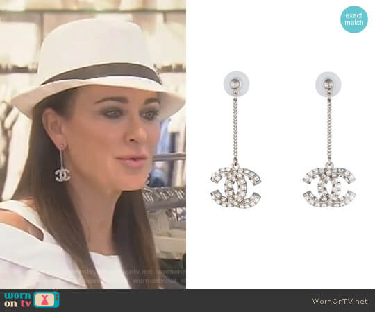 Crystal CC Drop Earrings by Chanel worn by Kyle Richards  on The Real Housewives of Beverly Hills
