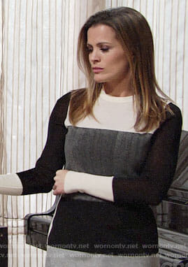 Chelsea's black and white colorblock sweater on The Young and the Restless