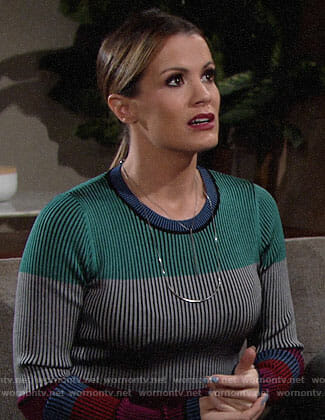 Chelsea's colorblock sweater on The Young and the Restless