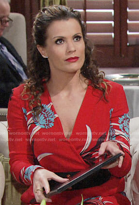 Chelsea's red floral jumpsuit on The Young and the Restless