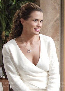 Chelsea's white crossover sweater on The Young and the Restless