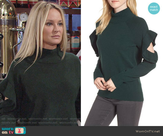 Chelsea28 Ruffle Sleeve Sweater worn by Sharon Collins (Sharon Case) on The Young & the Restless
