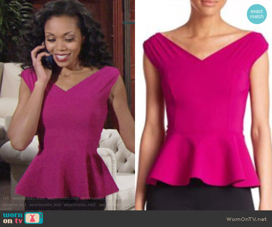 Chiara Boni La Petite Robe Peplum Top worn by Mishael Morgan on The Young & the Restless