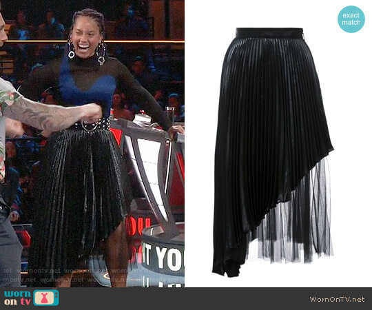 Christopher Kane Pleated Midi Skirt worn by Alicia Keys  on The Voice