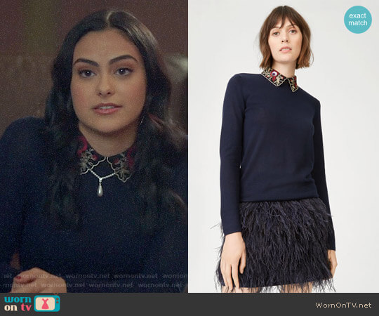 Club Monaco Joannah Sweater worn by Camila Mendes on Riverdale