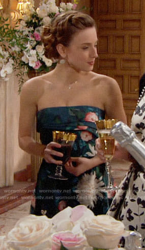 Coco's floral strapless dress on The Bold and the Beautiful