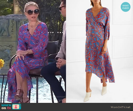 Asymmetric Printed Midi Wrap Dress by Diane von Furstenberg worn by Kelly Ripa  on Live with Kelly & Ryan