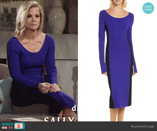 Diane von Furstenberg Colorblock Knit Body-Con Dress worn by Gina Tognoni on The Young & the Restless