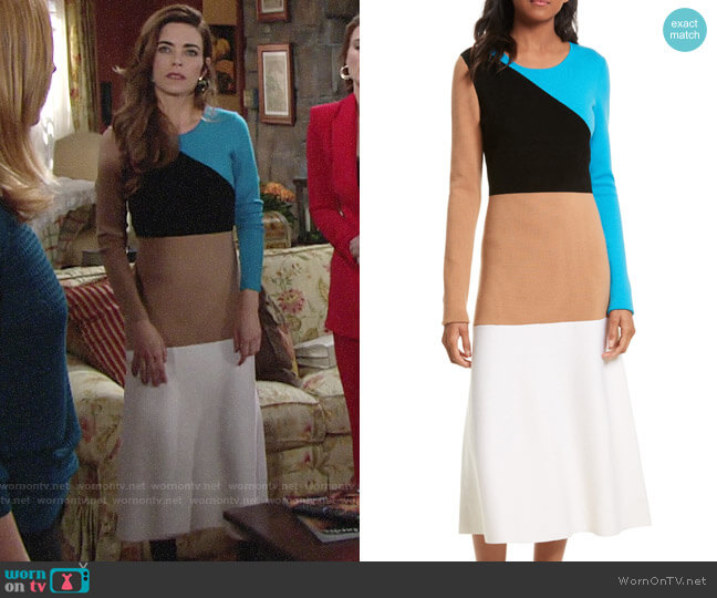 Diane von Furstenberg Crewneck Long-Sleeve Flare Knit Midi Dress worn by Victoria Newman (Amelia Heinle) on The Young & the Restless