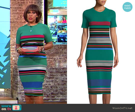 Crewneck Striped Knit Sweaterdress by Diane von Furstenberg worn by Gayle King on CBS This Morning