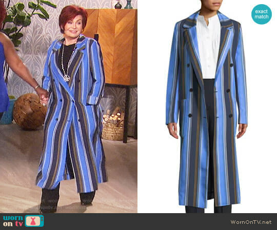 Double-Breasted Striped Silk Long Jacket by Diane von Furstenberg worn by Sharon Osbourne  on The Talk