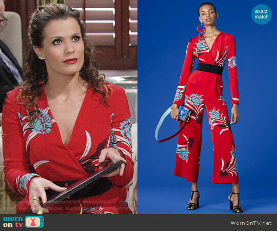 Diane von Furstenberg Long-Sleeve Cross Over Jumpsuit worn by Melissa Claire Egan on The Young & the Restless
