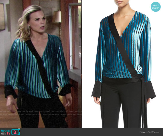 Diane von Furstenberg Velvet Stripe Blouse worn by Gina Tognoni on The Young & the Restless