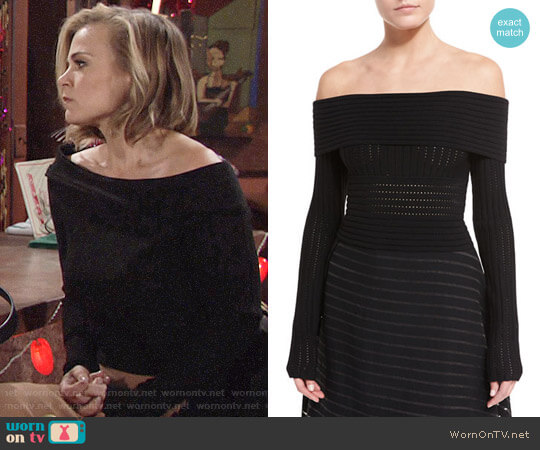 Diane von Furstenberg Long-Sleeve Off-the-Shoulder Knit Top worn by Phyllis Newman (Gina Tognoni) on The Young & the Restless