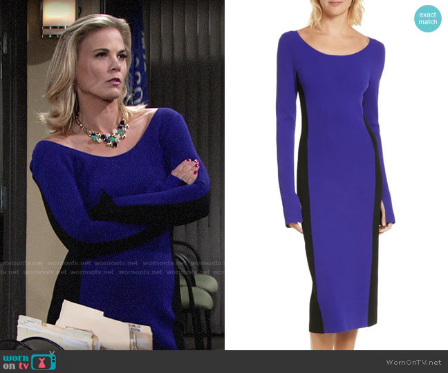 Diane von Furstenberg Colorblock Knit Body-Con Dress worn by Phyllis Newman (Gina Tognoni) on The Young & the Restless
