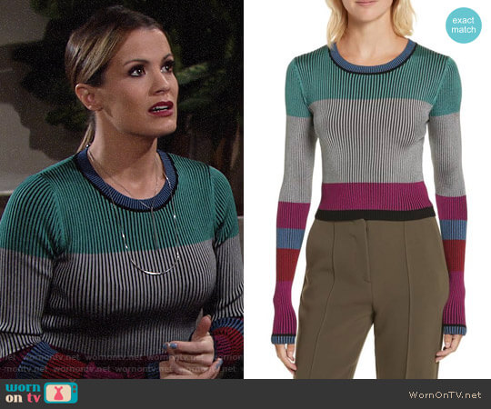 Diane von Furstenberg Cropped Plaited Pullover worn by Chelsea Lawson (Melissa Claire Egan) on The Young & the Restless