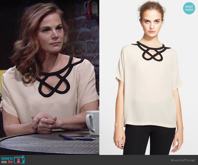 Diane von Furstenberg Short Sleeve Cutout Top worn by Phyllis Newman (Gina Tognoni) on The Young & the Restless