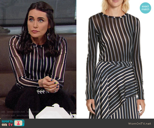 Diane von Furstenberg Fitted Print Top worn by Quinn Fuller (Rena Sofer) on The Bold & the Beautiful