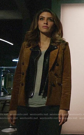 Dinah's corduroy blazer on Arrow