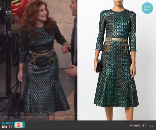 Abito herlequin print dress by Dolce & Gabbana worn by Grace Adler (Debra Messing) on Will & Grace