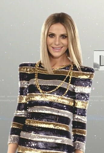 Dorit's sequin striped cut scene dress on The Real Housewives of Beverly Hills