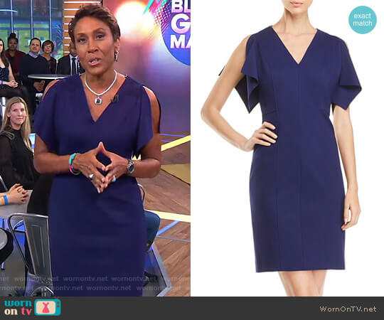 Lourdes Slit-Sleeve Sheath Dress by Elie Tahari worn by Robin Roberts  on Good Morning America