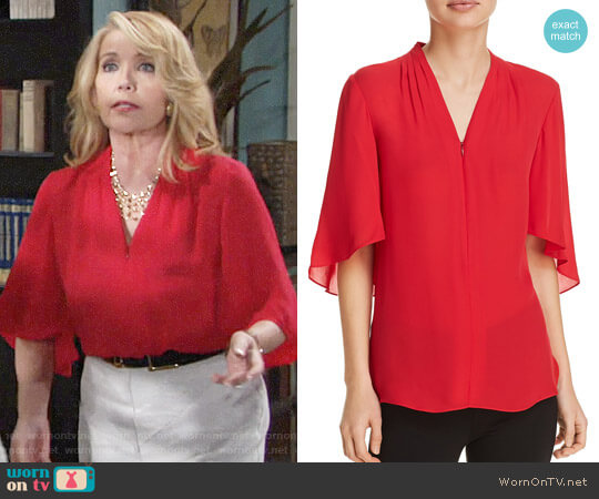 Elie Tahari Anella Blouse worn by Melody Thomas-Scott on The Young & the Restless