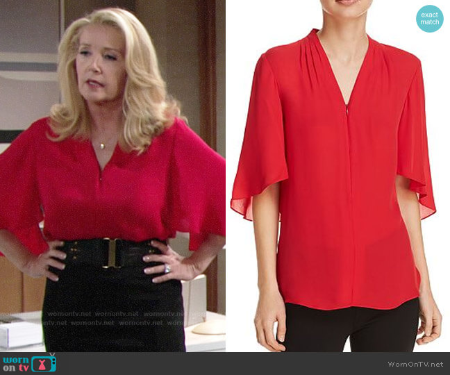 Elie Tahari Anella Blouse worn by Nikki Reed Newman (Melody Thomas-Scott) on The Young & the Restless