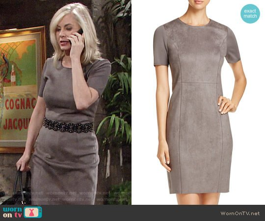 Elie Tahari Emily Faux Suede Dress worn by Eileen Davidson on The Young & the Restless