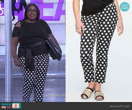 'Kady' Fit Printed Crepe Pant by Eloquii worn by Loni Love  on The Real