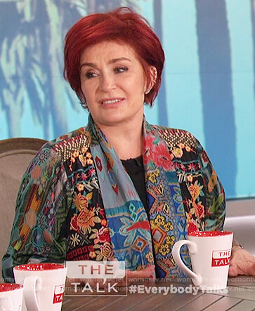 Sharon's embroidered floral kimono jacket on The Talk