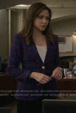 Emily's blue and red windowpane check blazer on Designated Survivor