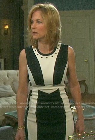 Eve's black and white colorblock dress on Days of our Lives
