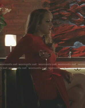 Fallon's red ruched asymmetric dress on Dynasty